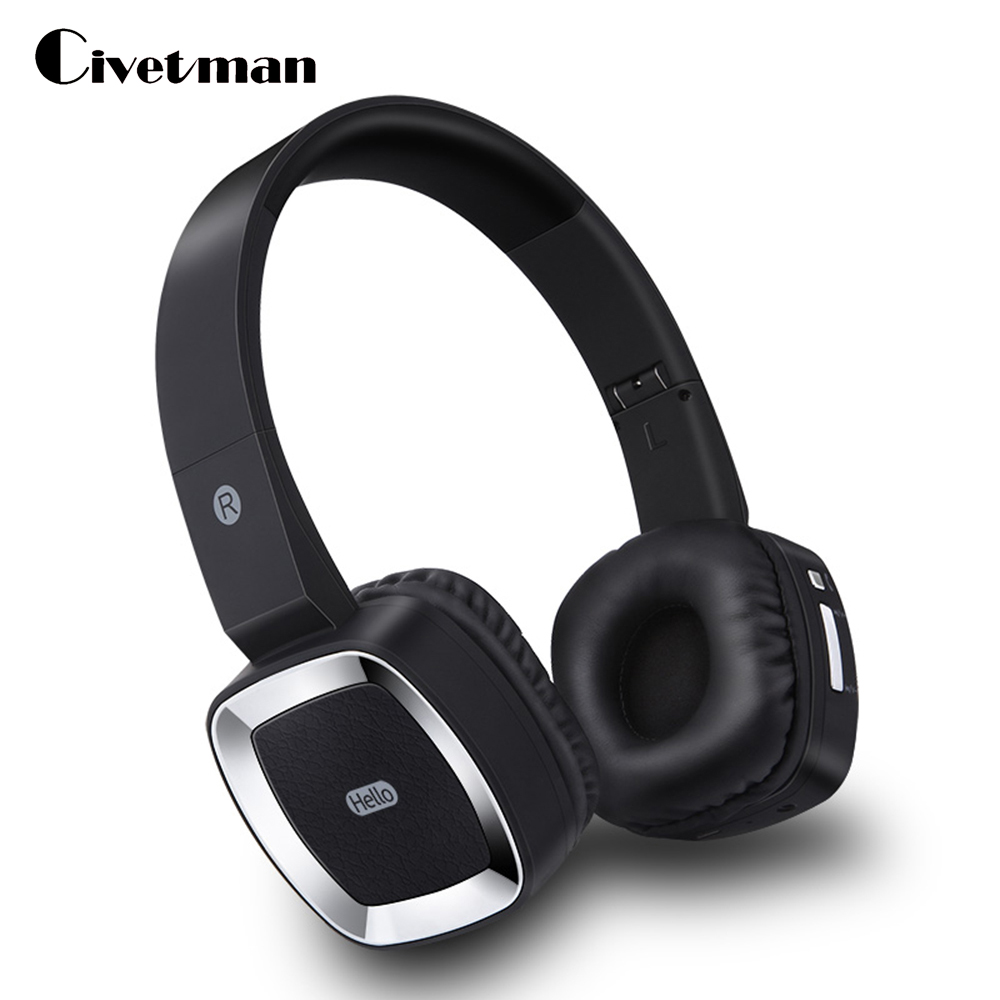 Civetman T6 Wireless Headphones Stereo Audio Mp3 Bluetooth Headset Foldable Wireless Headphones Earphone Support Card with Mic ks 509 mp3 player stereo headset headphones w tf card slot fm black
