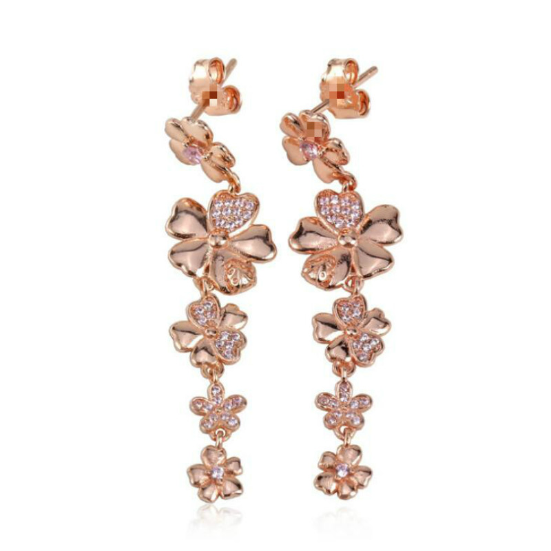 925 sterling silver jewelry Europe and America spring Stud Earrings series Rose gold Spring flowers Female ear ornament series