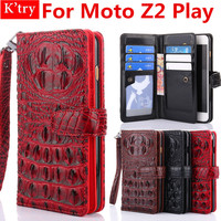 Stand Card Holder Crocodile Patterm Flip Wallet Case For Fundas Motorola Moto Z2 Play Flip Protective