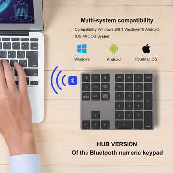 AVATTO Aluminum Alloy Bluetooth Wireless Numeric Keypad with USB HUB Digital Input Function for Windows,Mac OS,Android laptop PC