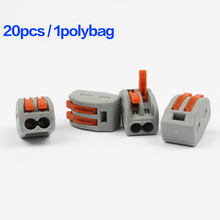 20pcs/lot PCT-212 Universal Compact Wire Wiring Connector,2 pin Conductor Terminal Block,mini fast  Connector 60pcs new type pct 212 213 214 20pcs 2p 20pcs 3p 20pcs 4p universal compact wire connector conductor terminal block