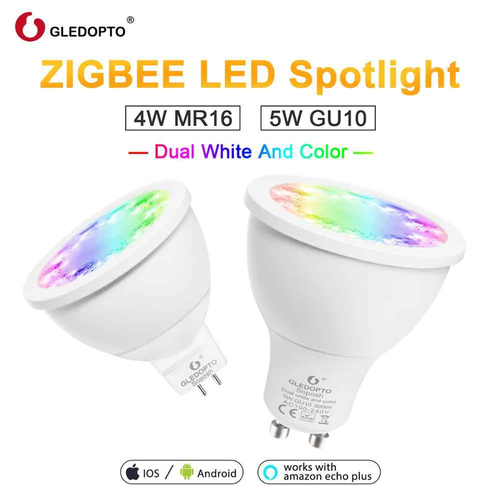 Color de hogar inteligente y blanco dual 5W GU10 4W mr16 2700-6500K reflector LED zigbee 3,0 trabajo con amazon alexa echo puls