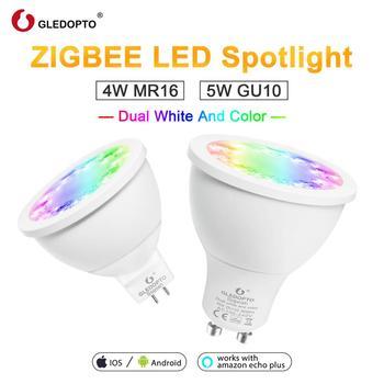 GLEDOPTO RGB và Dual trắng 5 W GU10 4 W MR16 RGBW/CW 2700-6500 K đèn trợ sáng AC100-240V ZigBee 3.0 làm việc với Alexa Puls LED Ligh