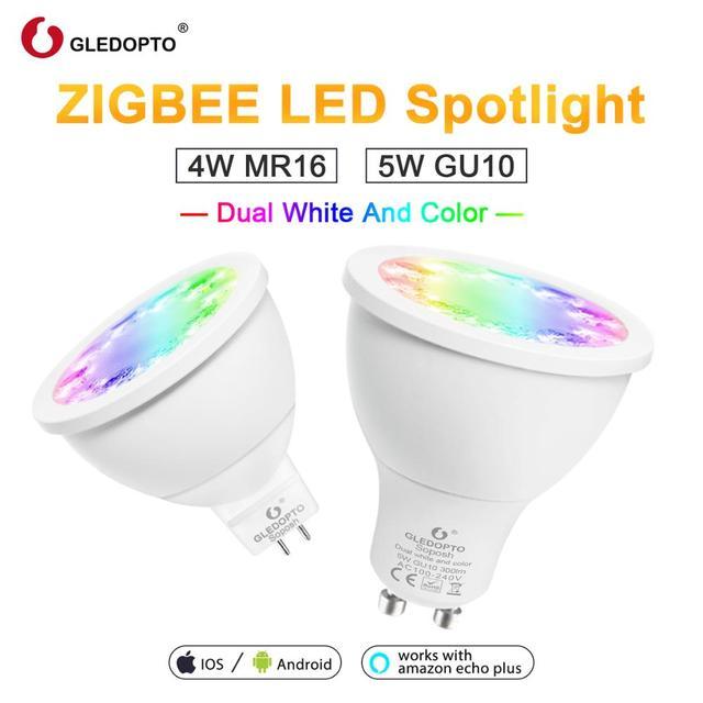 GLEDOPTO rgb כפול לבן 5 W GU10 4 W mr16 RGBW/CW 2700-6500 K LED זרקור AC100-240V zigbee 3.0 עבודה עם alexa puls led ligh