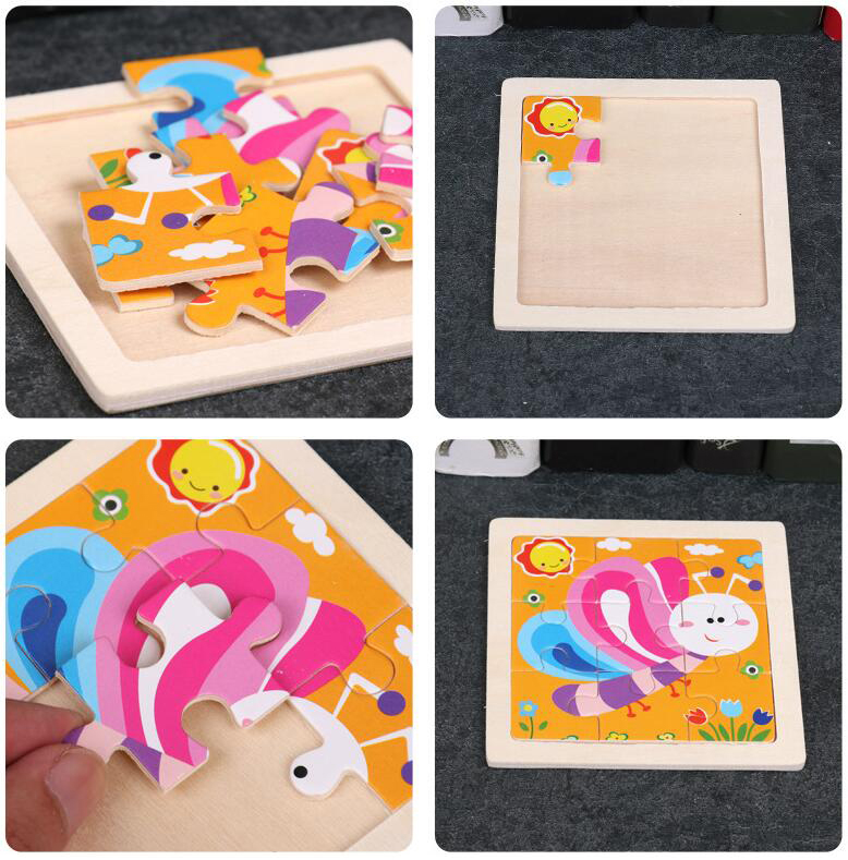 4PCS/lot 3D Wooden Jigsaw Puzzles for Children Kids Toys Cartoon Animal/Traffic Puzzles Baby Educational Puzles Wholesale GYH 2