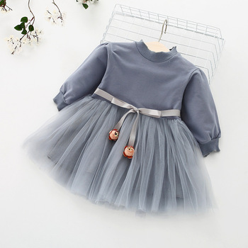 Fashion stitching Baby Girl Dress Long sleeve spring Dresses for 0-24 month Girls Clothes Vestido Infantil Newborn Baby Clothing 3