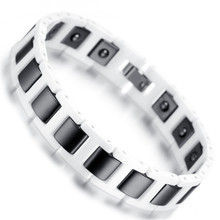"Mens Tungsten Bracelet, Black & White Health Care Magnetic Jewelry 7.42"" KB1543"