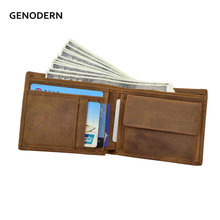 GENODERN Italian Style Crazy Horse Leather Wallet for Men Genuine Leather Wallets Coin Pocket Brown Male Purses Men Wallets