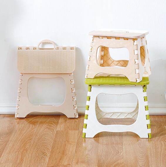 Plastic Folding  Thicken Step Portable Child Stools (green Beige) 1pc Folding Stool Outdoor Fishing Desk 23*19.3*17.5cm C606
