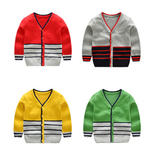 2018 Winter Kids Cardigan Sweater V-neck Casual Knitted Cardigan Stripe Baby Boy Knitted Cardigan Infantil bear print buttoned knitted cardigan
