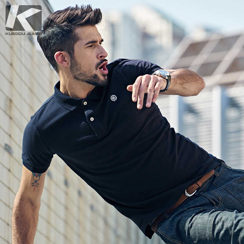 1643db510365 Kuegou Summer men s short sleeved Polo sweater fashion embroidered collar  Lapel pure cotton men s clothing 2527