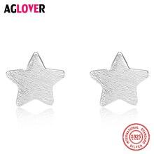 Brand Authentic 100% 925 Sterling Silver Italian Sanding Process Star Light Stud Earring For Women Fashion Jewelry Bijoux Gift