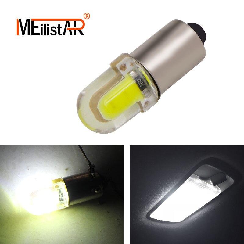 1Pcs BA9S T4W 363 1895 233 super bright Round 3D COB LED Pure White Car License Plate Light Bulb Auto Lamp marker light DC 12V