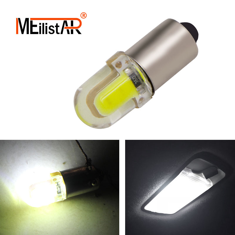 1Pcs BA9S T4W 363 1895 233 super bright Round 3D COB LED Pure White Car License Plate Light Bulb Auto Lamp marker light DC 12V ba9s 0 15w 5lm 1 led white light car indicator bulb transparent 2 pcs dc 12v