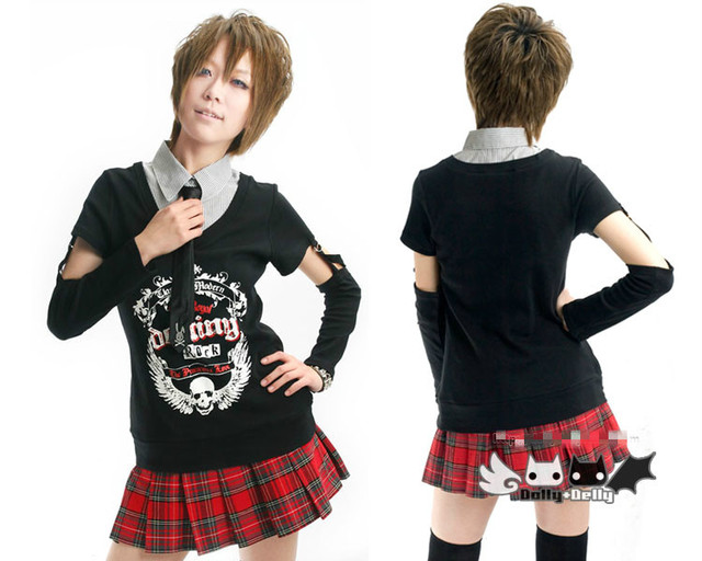 Harajuku Style Black Girl's T Shirt Preppy Punk Skull Rabbit Patterned Fake Two Piece Tee with Detachable Tie and Sleeve