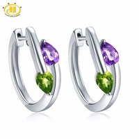 Hutang Stone Clip Earrings Natural Gemstone African Amethyst Peridot Solid 925 Sterling Silver Fine Jewelry For Women Girls Gift