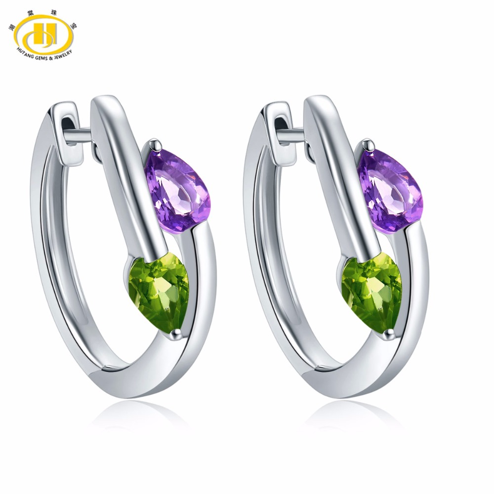 Hutang Stone Jewelry Earrings Natural Gemstone African Amethyst Peridot Solid 925 Sterling Silver Fine Jewelry For Women's Gift