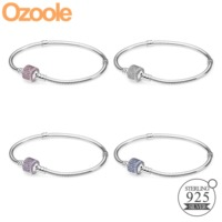 Authentic 925 Sterling Silver Original Snake Chain Charm Clasp Bangle Fit Pandora European Multi Color Bracelets Women Jewelry