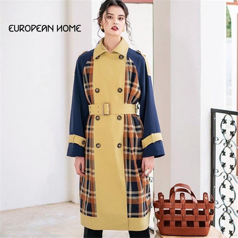 2019 Fashion Original Spring   Trench   coat Women Plaid Patchwork Belt Plus Size Windbreaker Loose Autumn Long Sleeve Overcoat