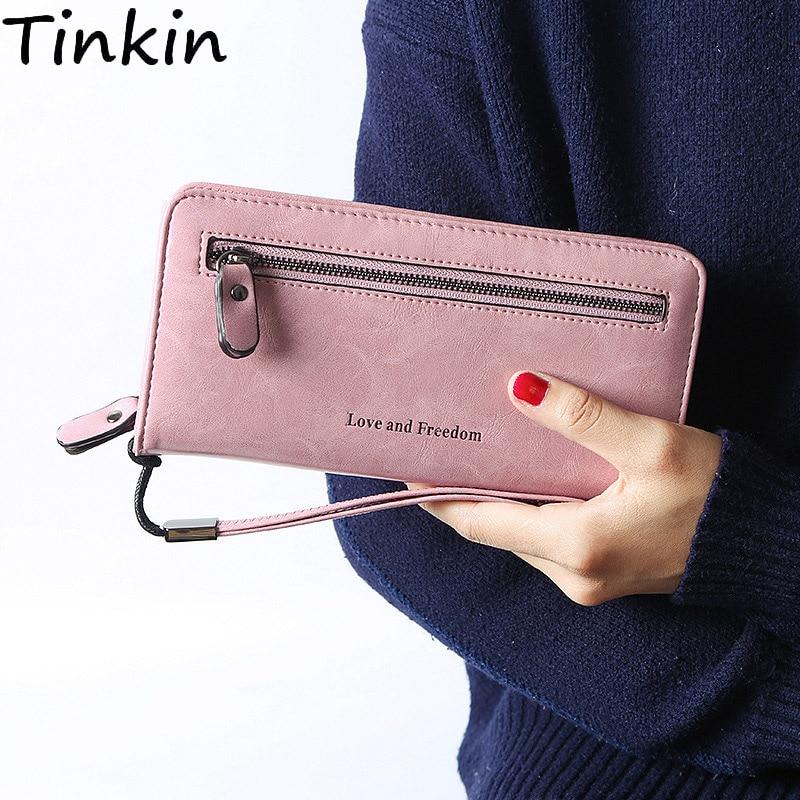 Tinkin Vintage PU leather women wallet printing letter women Purse Long wallet