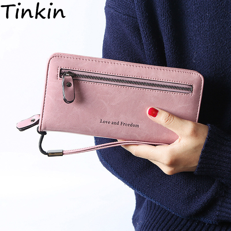 Tinkin Vintage PU leder frauen brieftasche druck brief frauen Geldbörse Lange brieftasche