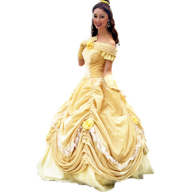 Beauty and the Beast Adult Princess Belle Costume Deluxe Princess Belle Fancy Dress Halloween Costumes for  sc 1 st  AliExpress.com & Beauty and the Beast Adult Princess Belle Costume Deluxe Princess ...