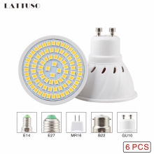 LATTUSO 6pcs/lot Lampada LED Bulb E27 E14 GU10 B22 MR16 110V 220V Bombillas Lamp Spotlight 48 60 80 Lampara Spot Light