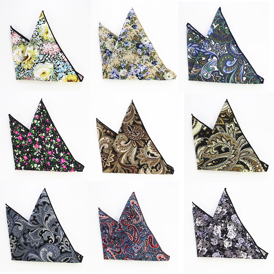 RBOCOTT Cotton Hankerchief Men's Printed Floral Pocket Square Vintage Hankies 22*22cm High Quality Accessory For Wedding Party
