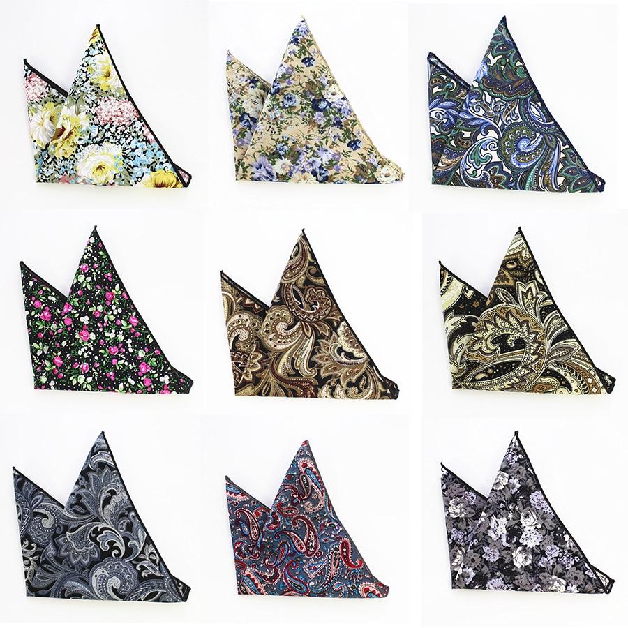 RBOCOTT Cotton Hankerchief Men s Printed Floral Pocket Square Vintage Hankies 22 22cm High Quality font