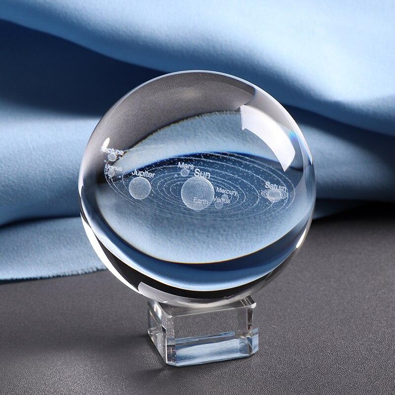 6 cm laser gravado sistema solar bola 3d planetas miniatura modelo esfera globo de vidro ornamento decoração da casa presente para astrophile
