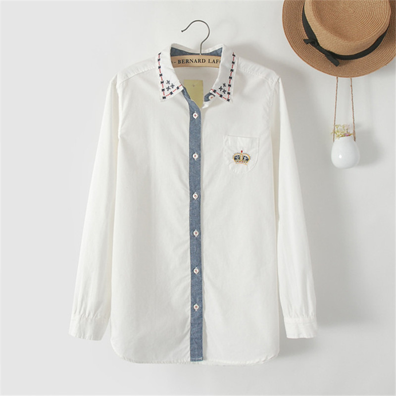 Quality women shirt cotton embroidery japanese style white for White cotton work shirts