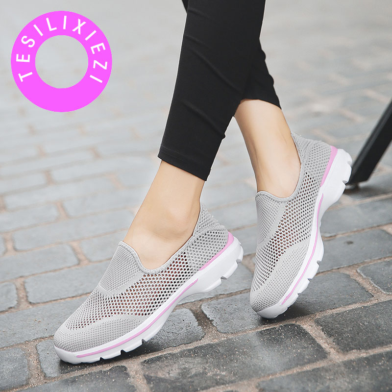TESILIXIEZI Women Flat Shoes Breathable Mesh Soft Loafers Non slip Fashion Ladies Sneakers Slip On Tenis Zapatos De Mujer in Women 39 s Flats from Shoes