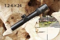 Optics Sight Tactical AK47 AK74 AR15 Hunting scope 1.2 6x24 Red Illumination Mil Dot Riflescope