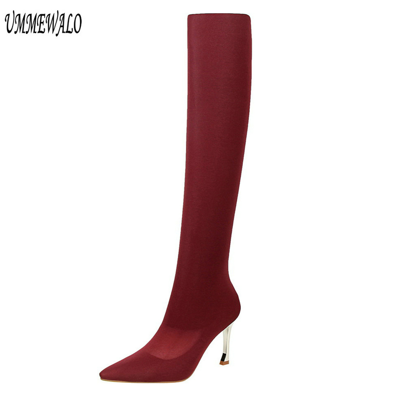 UMMEWALO Over Knee Boots Women Fashion Pointed Toe High Heel Shoes Winter Boots Ladies Shoes UMMEWALO Over Knee Boots Women Fashion Pointed Toe High Heel Shoes Winter Boots Ladies Shoes