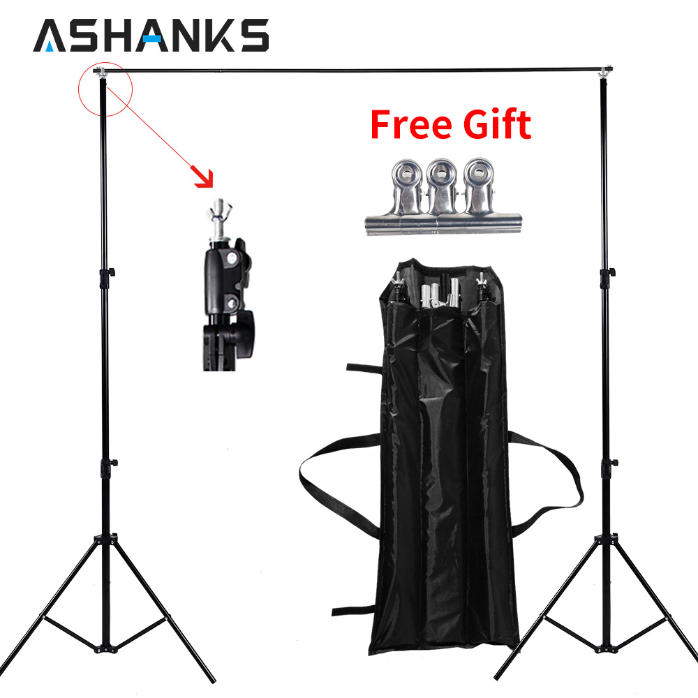 Ashanks Background Stand Adjustable Backdrop Support for Video Studio Photographic Accessories 6.5Ft Muslin Tripod Frame photographic background support elevator ng 3w manual control studio background support manual three shaft background cd50