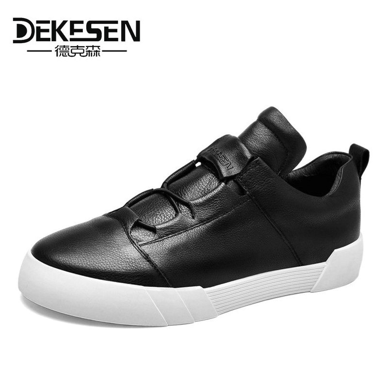 DEKESEN 2017 Fashion Men Genuine Leather Casual Shoes, Brand Sneakers Shoes for Man, Black Men Leather Shoes, Zapatillas Hombre casual dancing sneakers hip hop shoes high top casual shoes men patent leather flat shoes zapatillas deportivas hombre 61