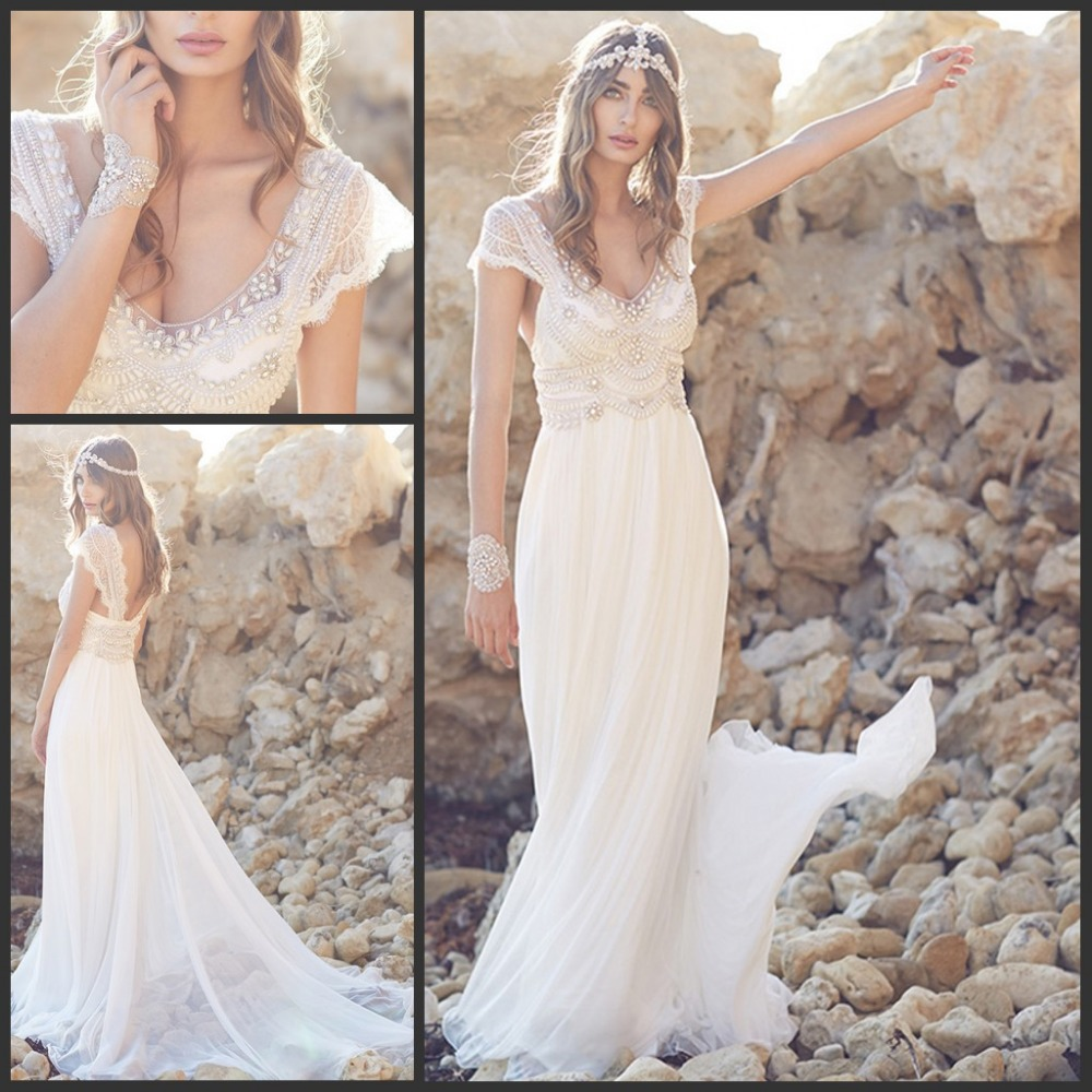2017 summer beach bohemian wedding dresses lace cap for Backless boho wedding dress