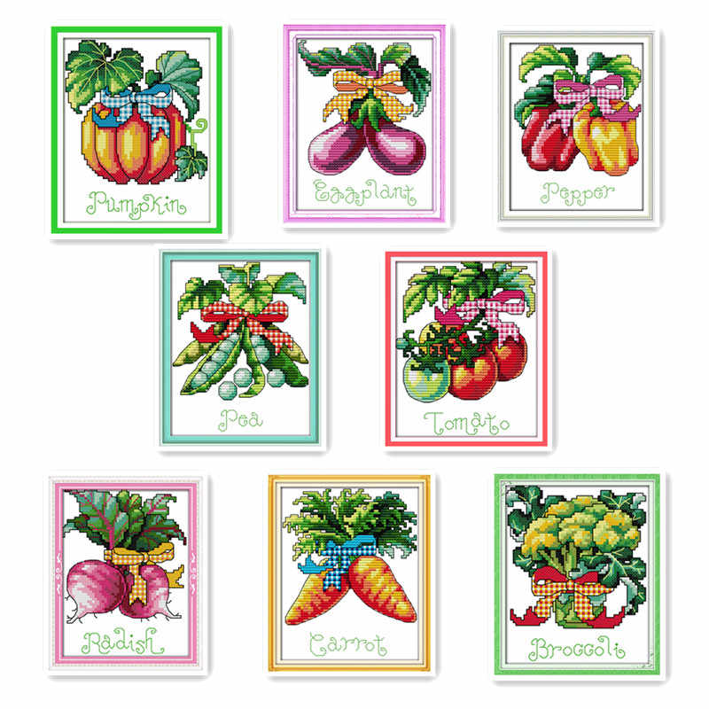 Mini small size variety of vegetables DIY cross-stitch pumpkin eggplant tomatoes peas carrots handmade embroidery