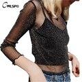 Sexy Fashion Women T Shirt See Through Mesh Lace Long Sleeve Cropped Top tshirt 2017 Transparent Tee Tops blusa casual QL2884