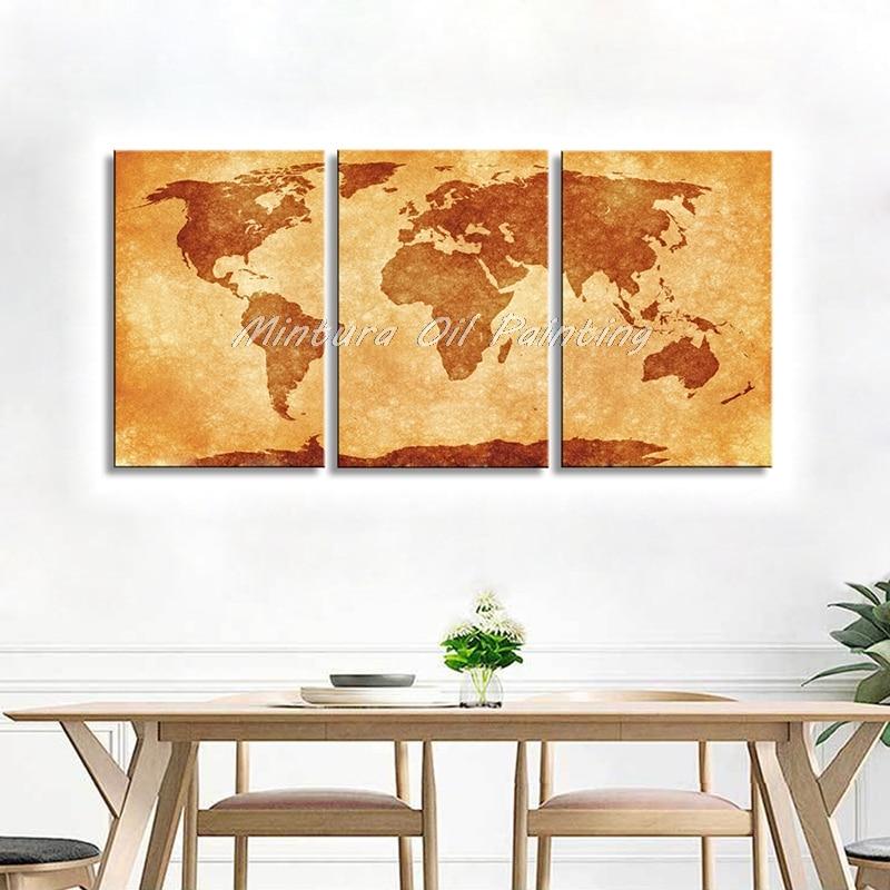 Arthyx الفن 3 قطعة العالم خريطة الصورة 100% اليد رسمت الحديثة الجدار لوحات فنية مجردة النفط اللوحة جدار ديكور لغرفة المعيشة غرفة-في الرسم والخط من المنزل والحديقة على  مجموعة 1