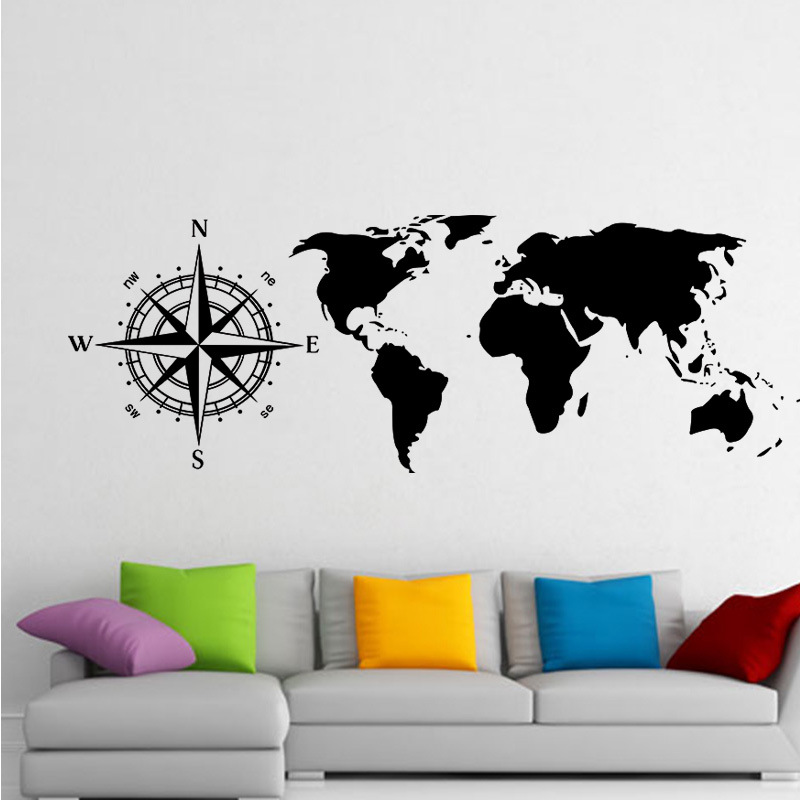 Large Size Nautical Compass Scratch World Map Wall Sticker Home Decor For Living Room Vinyl Wall Decal Removable Mural Poster C5