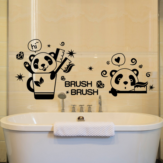 SHIJUEHEZI] Panda Brush Teeth Wall Stickers Vinyl DIY Removable Wall ...