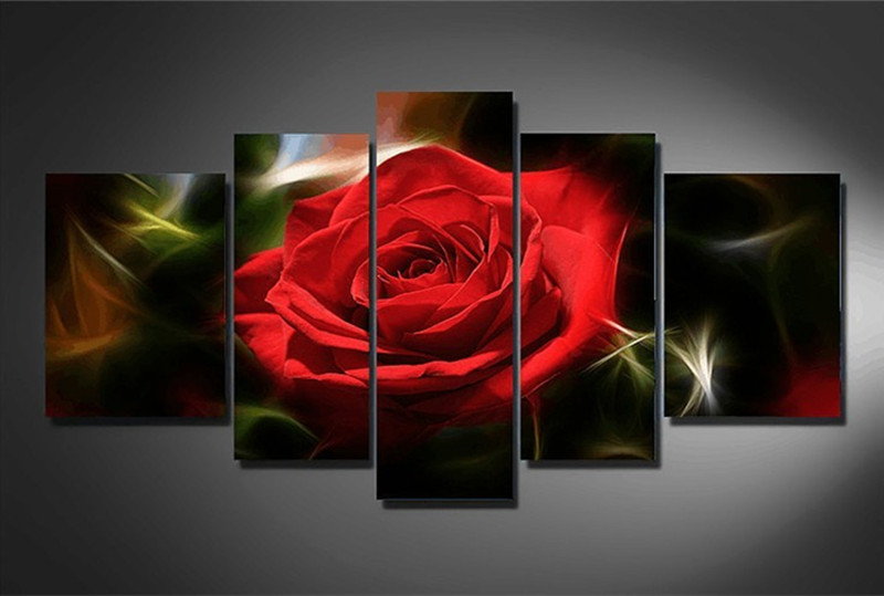 Surprising! New red rose needlework flower multi 5pcs cross stitch 5d diy diamond painting mosaic for living room weeding gifts