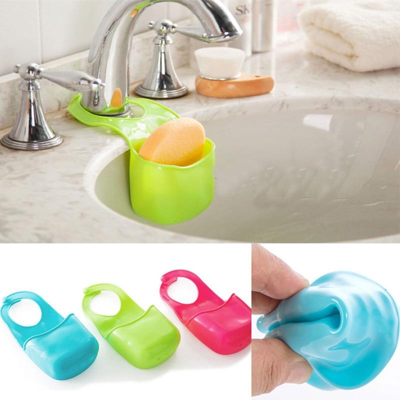 Kitchen Sponge Bathroom Sink Tidy Holder Rack Suction Strainer Organizer Storage