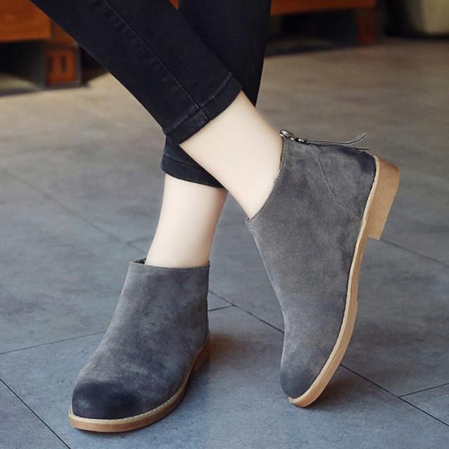 Moda Limpar Cor Das Mulheres Do Vintage Tornozelo Botas Zipper Botas de Motociclista Sapatos de Couro Liso Para As Mulheres Casual Sapatos De Borracha Para Meninas