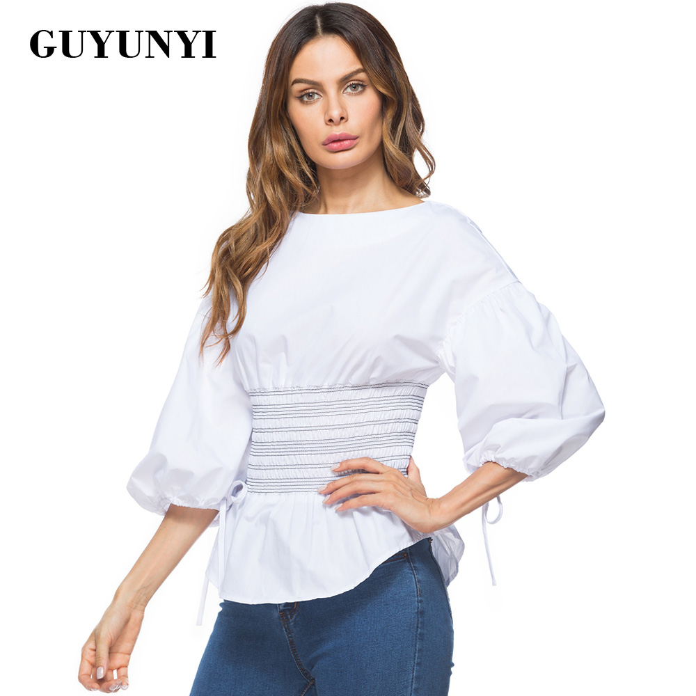 GUYUNYI Puff Sleeve White Blouse Women Sexy O Neck Shirt Elegant Tops Formal Clothing For Office Lady The Waist Is Elastic Y173