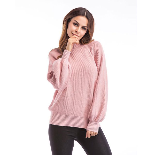 Pink Mock Neck Sweater Pullover Raglan Sleeves Pullovers Womens ...