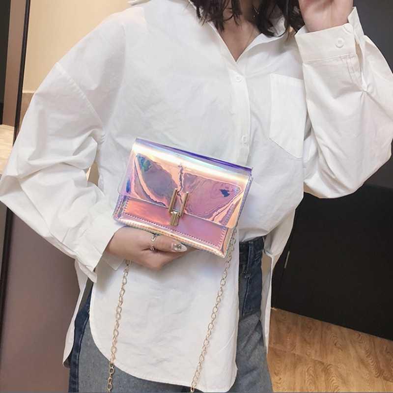 Frauen Laser Messenger Taschen Kette Tasche Klar Transparent Umhängetaschen Geldbörse Klappe