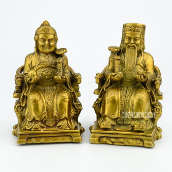 1 Pair Copper Earth God Couple Bodhisattva Statues Ornament Temple House Lucky Remove Disease Office Feng Shui Home Decoration