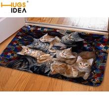 Hugsidea 3d kawaii cat imprimir bienvenido felpudo tapetes dormitorio pasillo carpet antideslizante suave para la sala de cocina tapetes